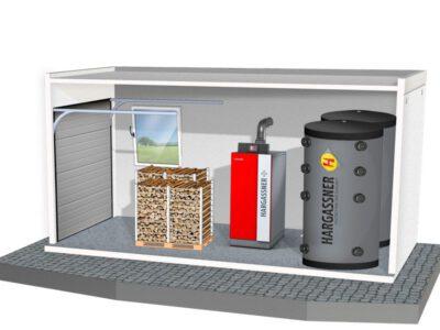 Stukhoutketel, brandstofopslag en 2 warmwaterbuffers
